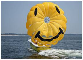 Enjoy Your Flight With Our New White Parasail Boat Or On Nearly Yellow Both Of Which Are U S Coast Guard Inspected And Can Take Up To 12 Flyers